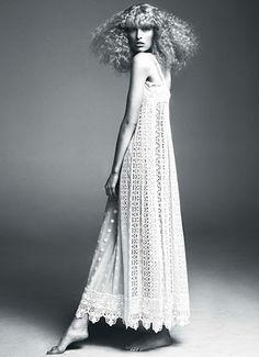 Very seventies crochet gown.