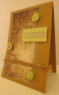 Handmade birthday card, craft, green, buttons, earthy, brown