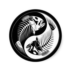 Shop Fish Bone Yang Classic Round Sticker created by rattlebrained. Skeleton Drawings, Fish Skeleton, Fish Drawings, Yen Yang, Tattoo Oriental, Nagel Stamping, Dead Fish, Skeleton Watches, Fish Design