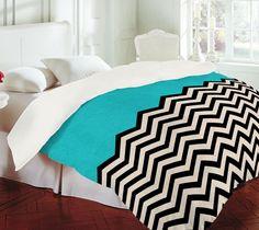 umm.. this chevron aqua bedspread... I NEED IT!