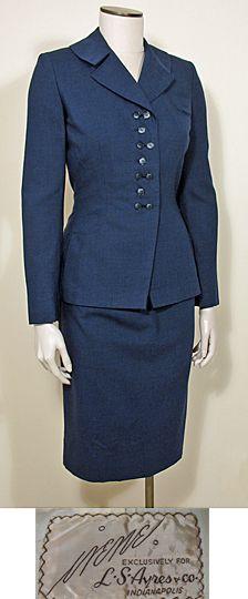 1950s Vintage Blue Wool Suit by Irene Lentz SZ S