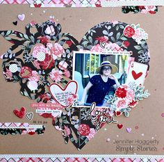 layout for Simple Stories using the Kissing Booth collection Scrapbook Quotes, Scrapbook Pages, Valentine Day Love, Valentines, Love You To Pieces, Kissing Booth, Image Layout, Kids Pages, Simple Stories