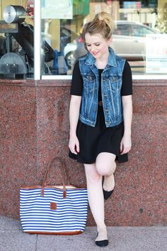 You can never go wrong with a little black dress and denim vest! This is a great summer fashion statement.