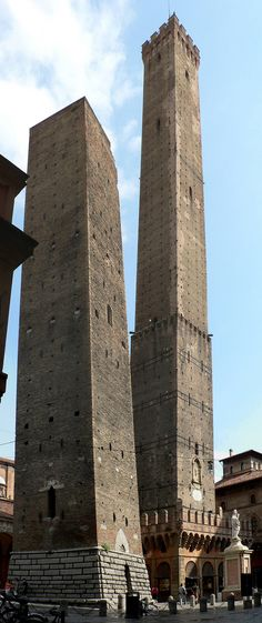 Leaning towers of Bologna: The small one is Torre Garisenda (49m/162ft) sways tipsily to the south about 3m (11ft), access is not allowed. The tall one Torre Asinelli (102m/334ft) inclines almost 2.5m (7.5ft). Its access is still permitted. The reward for climbing to the top is a breathtaking view of Bologna and beyond.