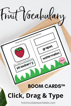 Practice and learn fruit vocabulary with 60 different task cards featuring 20 different fruits! Each car is differentiated for different skill levels (20 cards per level)so you can use them with different classes or assign each level as students become more familiar with the vocabulary. NO PREP! No printing or laminating. They're PAPERLESS and Ready to Use!