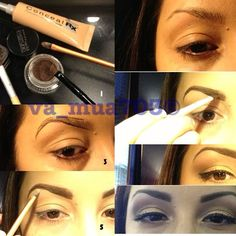 brow pictorial- gently line brows then fill in with eye shadow - a shade softer. Lining over the actual brow with liner will make you looked clowned out :)