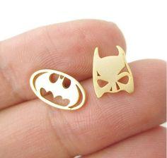Fashion Jewel Vintage Chic Comic Batman Mask and Logo Super Heroes Stud Earrings #Unbranded #Stud