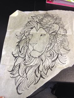 Lion outline for my left arm, currently in progress. Shanti @ Cat tattoo in Addison