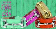 Leather Bracelet Cuffs shown in Tiffany Blue, Fuschia, Beige and Orange