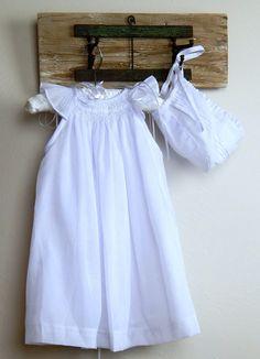 dae5fb308 Baby Girl Christening Dress, Baptism Dress with Bonnet, White Cotton, hand  smocked