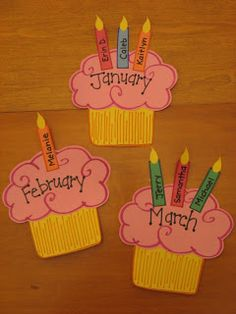 Birthday cupcake bulletin board. I'm working on this now using scrapbook paper scraps with the child's name on the candle and day of the month on the flame. No HPPA violation Jen?