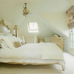 Paint Walls and Ceiling Same Color for a smaller bedroom....Benjamin Moore Ivory White.