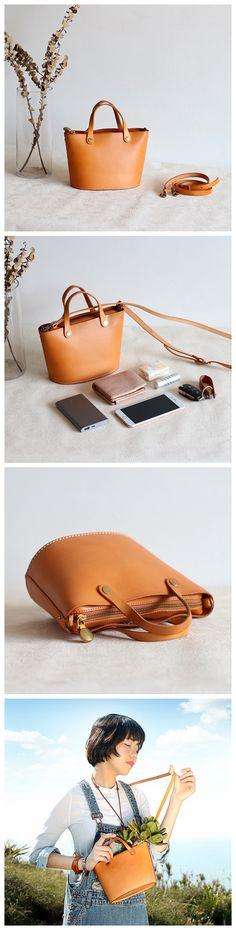 Handmade Women's Fashion Yellow Brown Leather Handbag Crossbody Bag Small Satchel 15020