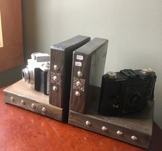 Upcycled Vintage Camera Bookends