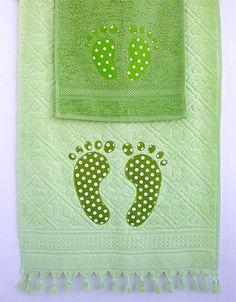 Personalizar las toallas con tela!!!