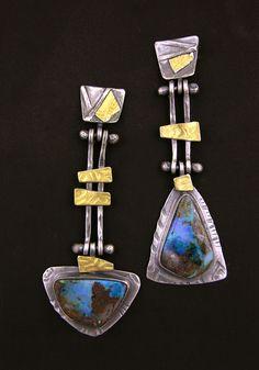 Earrings   Elaine Rader. Sterling silver, 22k gold, Boulder opal