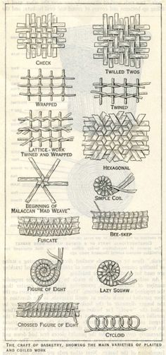 varieties of plaited and coiled basketry work