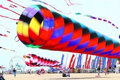 By air, land and sea, Ocean City's got the fun! Kites fill the sky in front of tech Kite Loft in Ocean City, Md. Go Fly A Kite, Kite Flying, Power Kite, Kite Designs, Come Fly With Me, Festival 2017, Ocean City, Breeze, Sailing