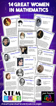 Ask your students to name some famous mathematicians. You will most likely hear Pythagoras, Descartes, Newton, Euclid, or Pascal. They are all men. What about the women? This resource is designed to highlight the lives and achievements of fourteen great women in mathematics. There are fourteen posters which you can use to display in your room. Also included in this resource are matching interactive notebook pages for your students to fill in on their own. You can assign them as HW , enri