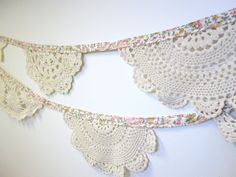 Beautiful doily bunting. These would work perfect for our burlap and lace!