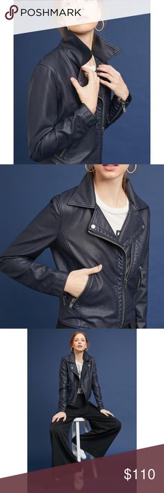 """Anthropologie Vegan Leather Navy Moto - Sm -NWT Brand New - In Wrapping - Never opened  Anthropologie Shrunken Vegan Leather Moto Jacket - Navy  Size Small  Whether you're wearing a floral maxi dress or a simple tee and jeans, leather jackets are the most stylish toppers for the cooler seasons.  Rayon, polyurethane; polyester lining Front pockets Zip front Hand wash Imported Dimensions  21.25""""L Anthropologie Jackets & Coats"""