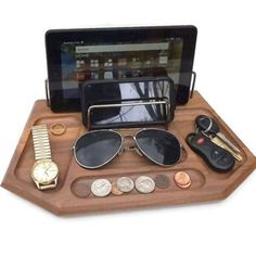 Great for man or woman. Will organize your dresser, desk, nightstand or kitchen counter. Dresser Desk, Nightstand, Dressers, Mens Valet, Wood Shop Projects, Cnc Projects, Desk Caddy, Wooden Desk Organizer, Desk Gifts