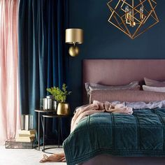 Gorgeous and glamorous mix of gold with deep muted shades and soft and seductive fabrics #thedesignbug Pinterest . . . . . . #bedroom #gold #navy #glamour #blue #pink #teal #lighting #fabrics #colourpalate #colour #interiors #interiordesigner #design #decor #interiorinspiration #interiorinspo #inspo #style #homedecor #irishblog #luxeinteriors #interiorblog #interiordecor #interiorstyling #instainteriors #instadecor #instagood #love