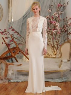 Elizabeth Fillmore silk crepe long sleeve sheathe wedding dress with sheer bib lace front panel