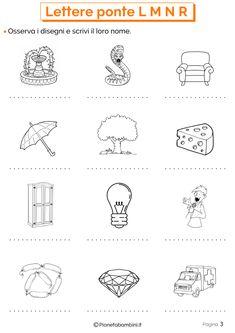 Esercizi sulle lettere ponte 3 How To Speak Italian, Learning Italian, Worksheets, Language, Teaching, School, Peter Pan, 3, Geography