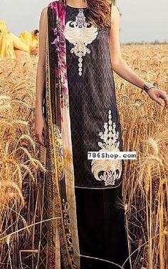 Lawn Suits, Pakistani Designers, Pakistani Outfits, Kimono Top, Cross Stitch, Sari, Clothing, How To Wear, Black