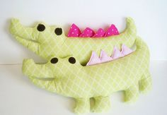 Mini the green and pink toy pillow soft alligator by LilyRoseCraft, $29.50 #crocodile #alligator