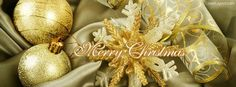 Merry Christmas Gold Facebook Cover