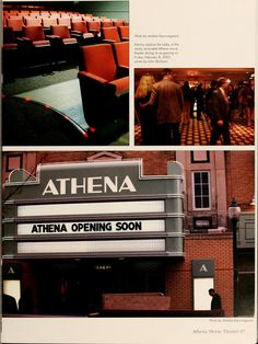 """Athena yearbook, 2002. """"Patrons explore the lobby of the newly renovated Athena movie theater during its re-opening on Friday, February 8, 2002."""" ::Ohio University Archives"""