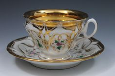 Krister Porzellan-Manufaktur KPM Marked Gold Hand Painted Cup and Saucer 1840-95