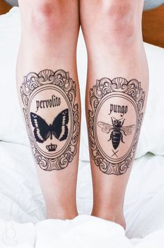 Butterfly and Bee Latin Frame Temporary Tattoos by SeventhSkin