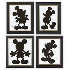 Mickey Mouse has always been cut out for the task of inspiring smiles. Created by Disney artists, this set of four elegantly framed prints by Ethan Allen features the unmistakable silhouette of Mickey in different poses.