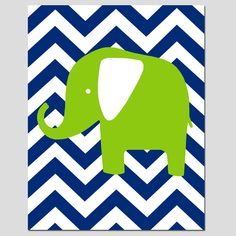 SALE - Chevron Elephant - 11x14 Print - Modern Nursery Decor - Navy Blue, Apple Green, White. $12.00, via Etsy.