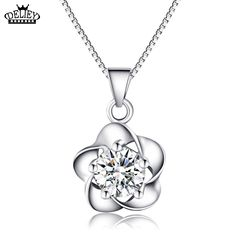 DELIEY Wholesale High Quality 925 Sterling silver Crystal Flower Shape Necklace Penddant With 925 Sterling Silver Chain
