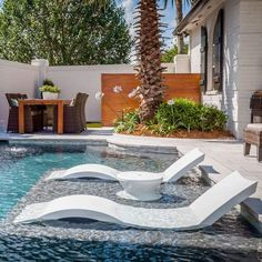 Submersible pool chaise provides comfort for lounging in-pool on your baja shelf or ledge, available in 11 colors. Shop BOXHILL for all outdoor modern style! Ledge Lounger, Sun Lounger, Moderne Pools, Pool Chairs, Modern Outdoor Furniture, Modern Patio, Outdoor Decor, Outdoor Seating, Outdoor Life