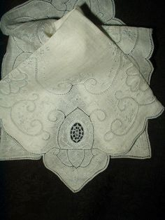 Vintage Madeira Embroidery Linen Handkerchief  Lace Insets