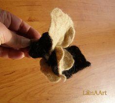 Winter fantasy felted flower brooch in natural dark brown wool by LanAArt, $21.00