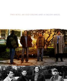 """""""And of course, I remember the most remarkable event. Remarkable because it never came to pass. It was averted by two boys, an old drunk, and a fallen angel. The grand story, and we ripped up the ending, and the rules, and destiny, leaving nothing but freedom and choice."""" (Supernatural)"""