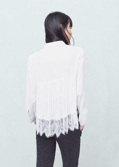 Bluse mit plissiertem rücken | MANGO