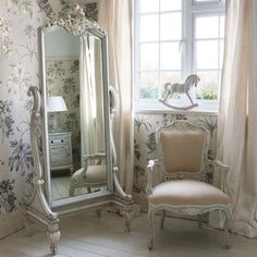 This cheval mirror is so gorgeously ornate, so french shabby chic! www.florafurniture.co.uk