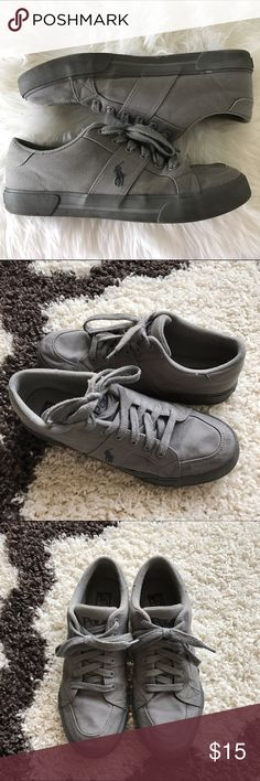 """Polo Ralph Lauren Sneakers All gray sneakers by Polo Ralph Lauren! Normal wear from gentle use, still in good condition! Some chipping on the """"POLO"""" word logo on the heels (as shown in the fourth picture). Polo by Ralph Lauren Shoes Sneakers"""