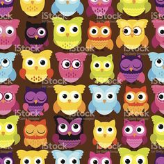 Seamless and Tileable Vector Owl Background Pattern royalty-free stock vector art