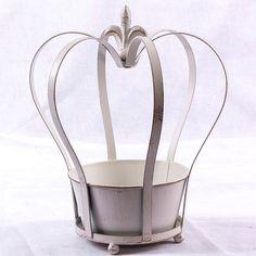 Porta vaso fioriera  CORONA  in metallo bianco shabby chic ( Cod. 16-US790W)
