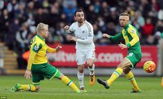 Leon Britton is challenged by Steven Naismith and Gary O'Neill in the 1-0 win over Norwich
