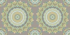 Kalinda Tile (SZ001804) - Albany Wallpapers - A large scale, traditional circular Indian motif design. Shown here in jade and grey. Other colour ways available. Paste the wall product. Please request a sample for true colour match.