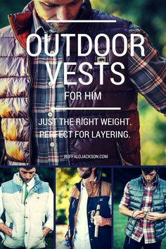 Impressive collection of mens puff vests, quilted vests, fleece vests, and waxed canvas vests.